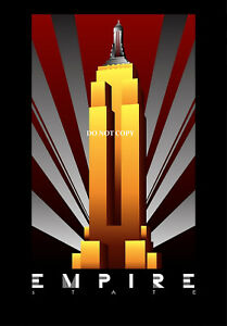 VINTAGE ART DECO EMPIRE STATE BUILDING USA  A4 GLOSSY PHOTO POSTER PRINT