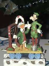 Disney LUDWIG VAN DRAKE and GOOFY Candy Cane Christmas Train Village Figure RARE