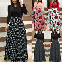 Womens Parties Evening Boho Maxi Dress Ladies Holiday Long Sleeve Cocktail