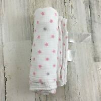 ADEN + ANAIS Pink Gray Small Stars White Cotton Muslin Baby Blanket Swaddle