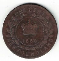 KEY DATE - NEWFOUNDLAND 1880 NARROW 0 LARGE CENT QUEEN VICTORIA CANADIAN COIN