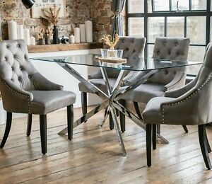 Selina Luxury Dining Table Set & 4 Charcoal Portia Dining Chairs Glass 1.5m*0.8m