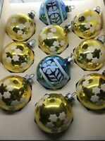 """Vintage Stenciled Glass Ball Ornaments Gold Blue 2"""" USA"""