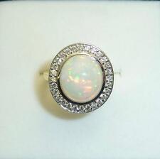 18carat 18k Yellow & White Gold Opal & Diamond Set Ring UK size N US size 6 1/2