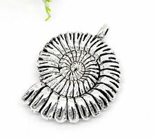 2 Tibetan Silver Ammonite Fossil Charms 3d Spiral Shell Large HOMOLOGUE