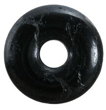 Schwarzer Turmalin Schörl Donut Anhänger Edelstein 30 mm Scheibenstein Pi Stein