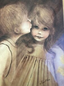 Vintage Margaret Kane Keane Framed Print Big Eye First Kiss 17 x 20""