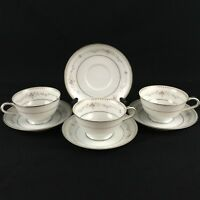 VTG Set of 3 Cups and 4 Saucers Noritake Fairmont 6102 Pink Roses Floral Japan
