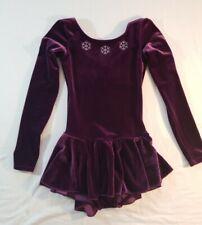 Purple Velvet Mondor Figure Skating Dress 8-10