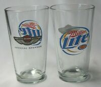 2 New 2003 Harley Davidson 100th Anniversary Miller Lite Pint 16oz Beer Glass