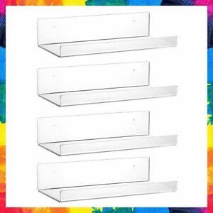 FLOATING BOOKSHELF Acrylic Clear Wall Ledge Shelf Shelves 15 x 6 4 Pcs VASGOR