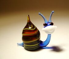 Blown Glass Art Figurine Small Insect Blue and Yellow Striped Slug Snail