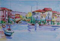 Zladku Olivo: Puerto Hyères - Litografía Original Firmada / Numerada #125ex