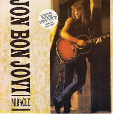 "JON BON JOVI  Miracle PICTURE SLEEVE 7"" 45 rpm record + juke box title strip"