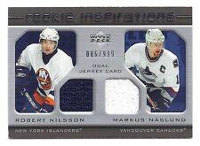 Robert Nilsson / Markus Naslund, UD Rookie Update Jersey Card. 6 of 999,  #219