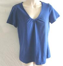 Regular Size Small Reitmans Knit Top Dark Blue Short Sleeve V-Neck Cotton Blend