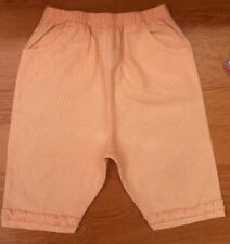 M&S MARKS Baby Girls Trousers Peach Check 3/4 Frill Bottoms Clothes 12-18 Months