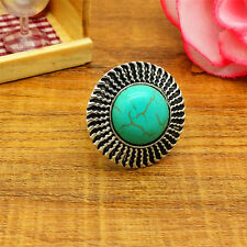 HOT Jewelry Retro Round Classical Cute Turquoise Natural tibet silver ring