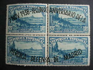 Spain Sc B108 MH overprinted block of 4, check it out!
