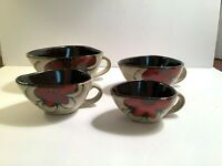 Set of 4 Decorative Ceramic Pottery Red Floral Measuring Cups Set