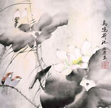 ORIGINAL ASIAN ART CHINESE FAMOUS WATERCOLOR PAINTING-Lotus flowers&Birds lover