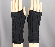 Black cable knit arm warmer fingerless gloves warmers open thumb texting