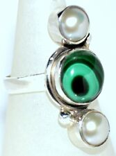 925 Sterling SILVER Ring White Pearl Green Malachite Jewellery SALE; 6, M