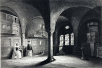 WARTBURG CASTLE MARTIN LUTHER ROOM TRANSLATED BIBLE ~ 1843 Art Print Engraving