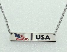 USA Necklace Patriotic America United States Flag Silver Stainless Steel