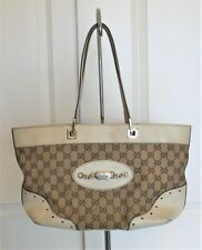 Auth Gucci Guccissima Monogram Large Punch Tote Handbag Off White/Brown