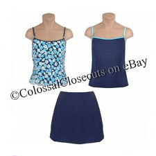 IT FIGURES Hip Hider 3 Piece Skirtini Swimsuit FLORAL & COLOR BLOCK 3pc BLUE 14