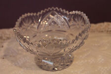 BEAUTIFUL CUT CRYSTAL GLASS FOOTED PEDESTAL CANDY NUT DISH WITH SAWTOOTH EDGE