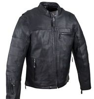 MEN'S MOTORCYCLE FITTED BLK SOFT LEATHER JACKET WITH 2 GUN POCKETS INSIDE