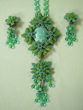 SIGNED STANLEY HAGLER NYC TURQUOISE BLUE SEED BEAD STATEMENT NECKLACE & EARRINGS