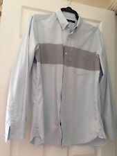 Mens French Connection Shirt Size L Pale Blue with huge Grey Stripe detail. VGC
