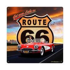 Larry grossman Route 66 Chevrolet Corvette retro sign chapa escudo escudo grande!