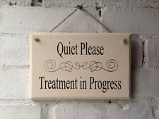 Sign Treatment in Progress door, salon. Beauty, holistic treatment notice. shop