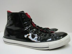 Converse All Star Black Patent Leather High Top Sneakers Men 9 / Women 11