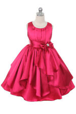 Fuchsia Satin Girls Dress Party Wedding Flower Girl Size 4 - 6 - 10 - 16