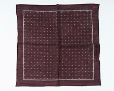 "Isaia NWT Maroon Gray Polka Dot Pocket Square Wool Silk Blend 13"" 33 cm"