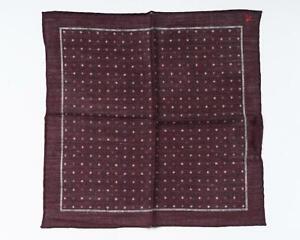 """Isaia NWT Maroon Gray Polka Dot Pocket Square Wool Silk Blend 13"""" 33 cm"""