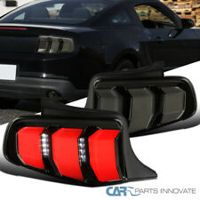 For Ford 10-12 Mustang Glossy Black LED Sequential Signal Smoke Tail Lights Pair
