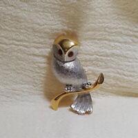 Owl Goldtone Silvertone Vintage Pin Brooch