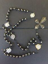 Hematite Rosary Black Stone Beads Necklace Jerusalem Holy Soil Cross Crucifix