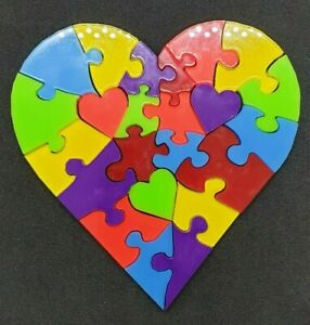 Heart Shape Jigsaw Acrylic x23 Multi Colour Every One Unique with colours Pride