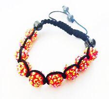 """USA"" Bracelet Rhinestone Crystal Ball Adjustable Handmade Shamballa Orange AB"
