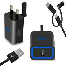 Portable 2.4A Fast 1-Port USB Folding Mains Wall Plug Adapter Charger UK 3-pin