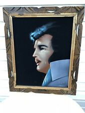 VINTAGE VELVET CRYING ELVIS PAINTING 24 X 20 FRAMED SIGNED ORTIZ ART