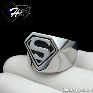 MEN Stainless Steel Black/Silver Superman Ring Size 8-13*R121
