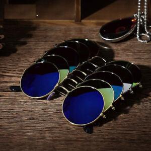Mens Womens Retro Round Metal Mirror Sunglasses Outdoor Vintage Glasses Eyewear